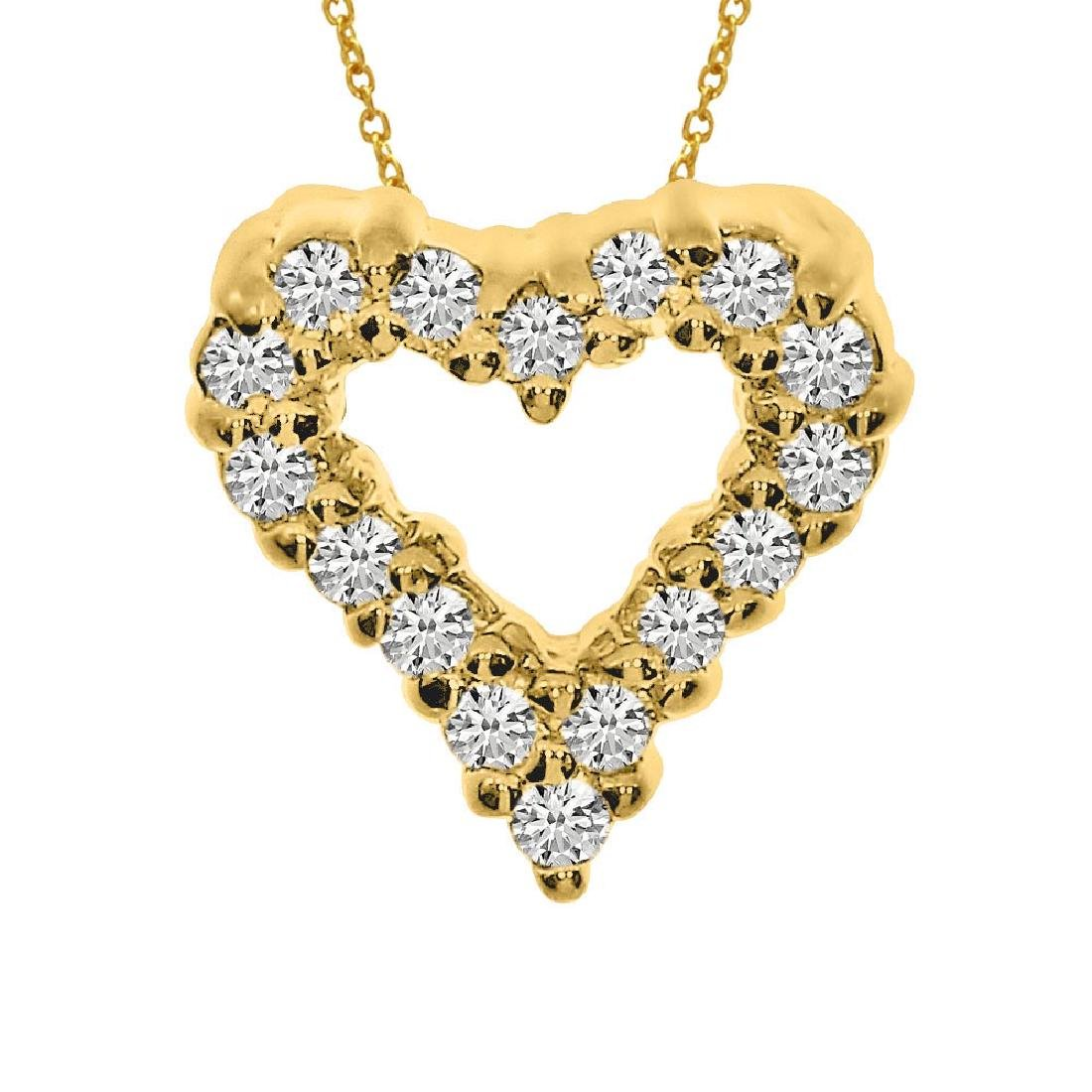 Certified 14K Yellow Gold Diamond Heart Pendant 0.25 CT