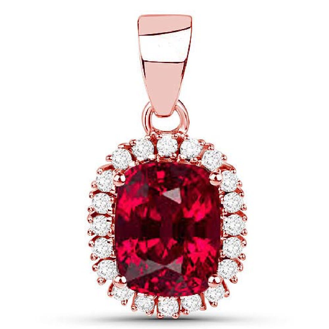 Certified 1.50 CTW Genuine Garnet And Diamond 14K Rose