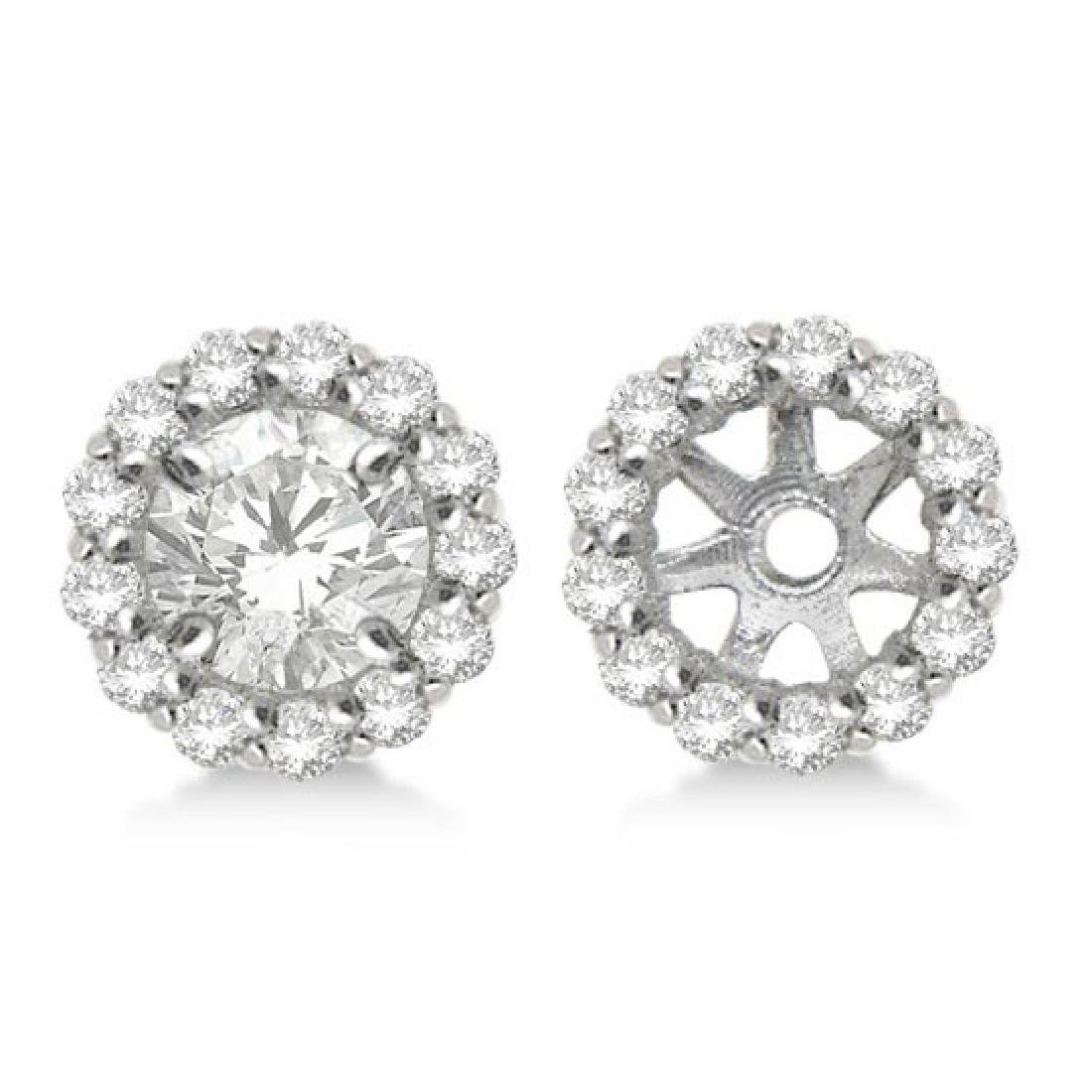 Round Diamond Earring Jackets for 4mm Studs 14K White G