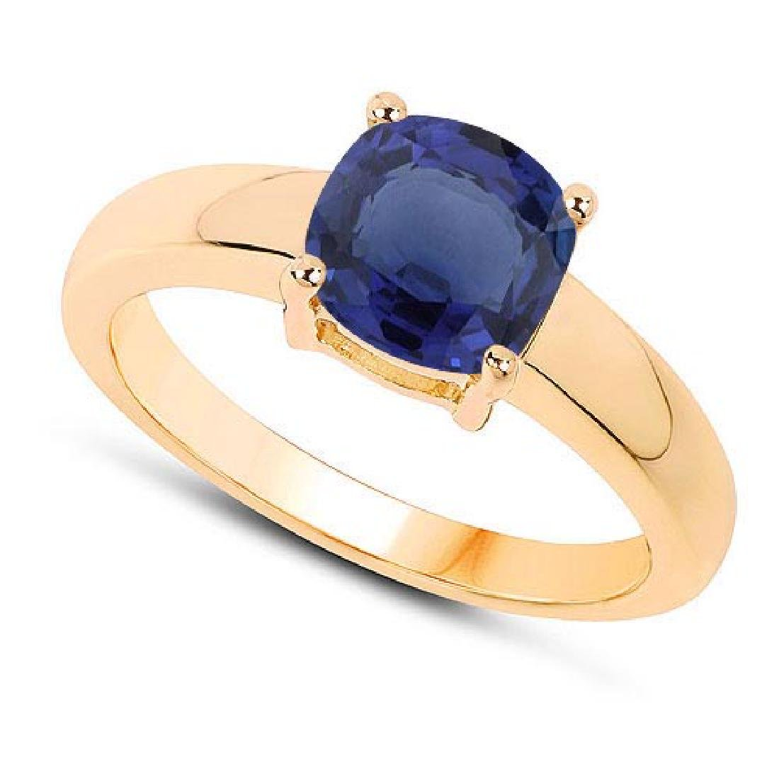 Certified 1.30 CTW Genuine Blue Sapphire And 14K Yellow