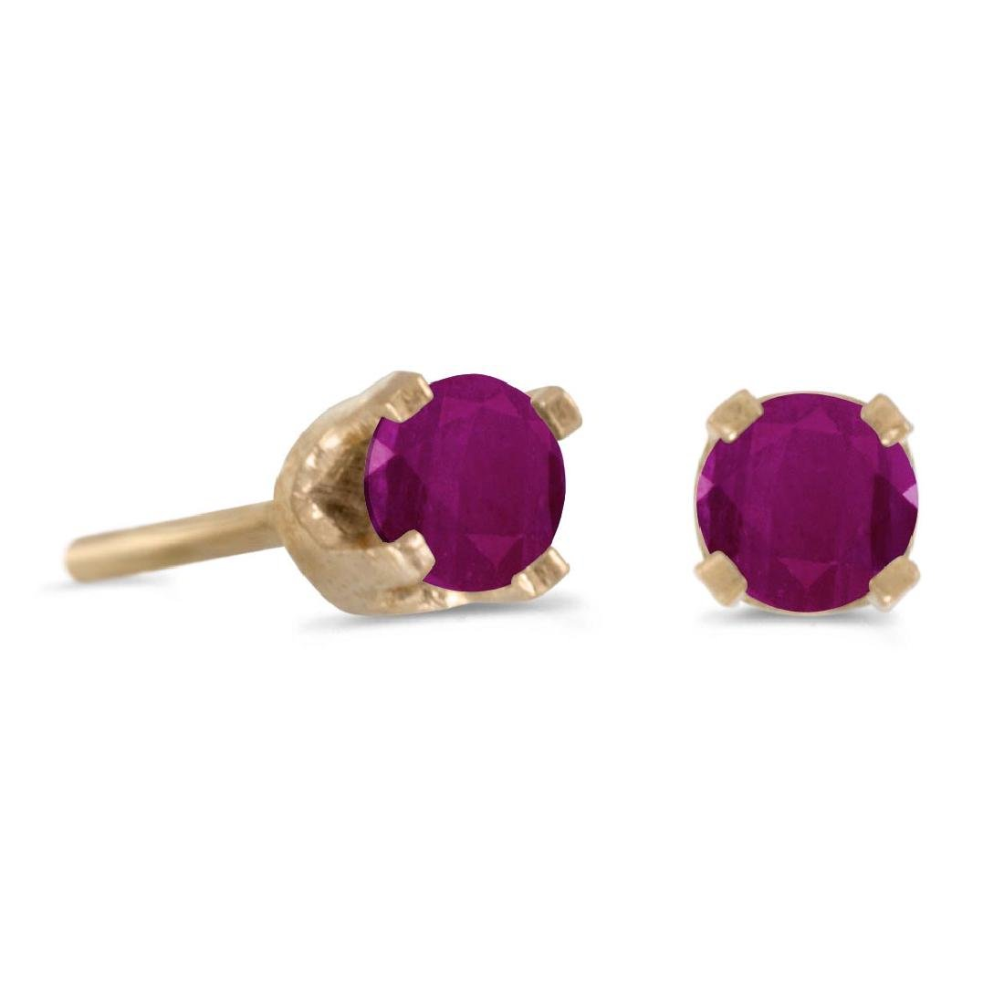 Certified 3 mm Petite Round Genuine Ruby Stud Earrings