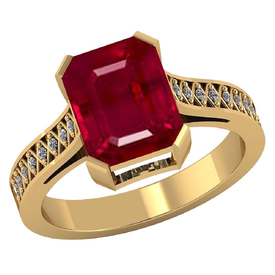 Certified 2.90 CTW Genuine Ruby And Diamond 14K Yellow