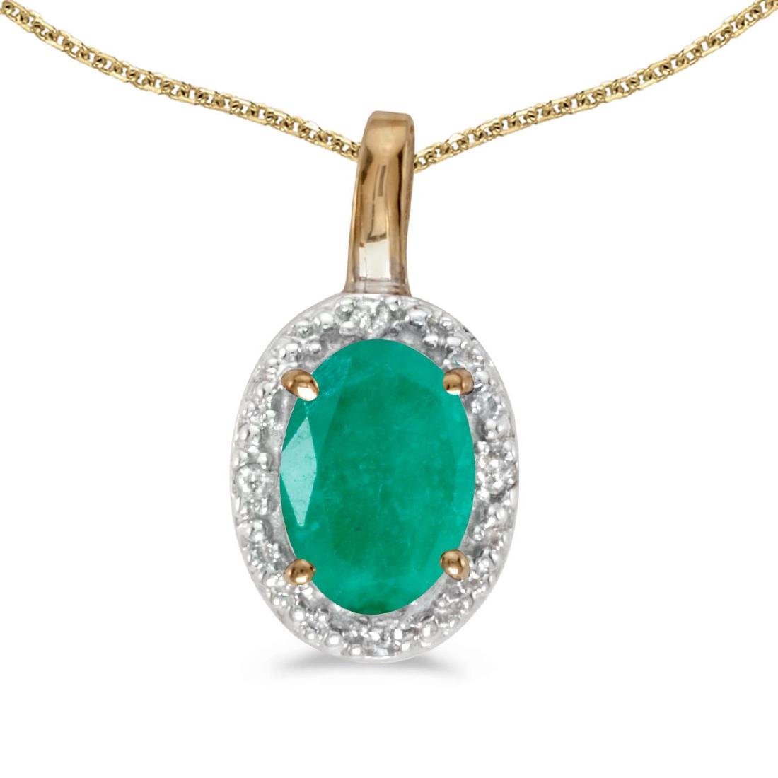 Certified 14k Yellow Gold Oval Emerald And Diamond Pend