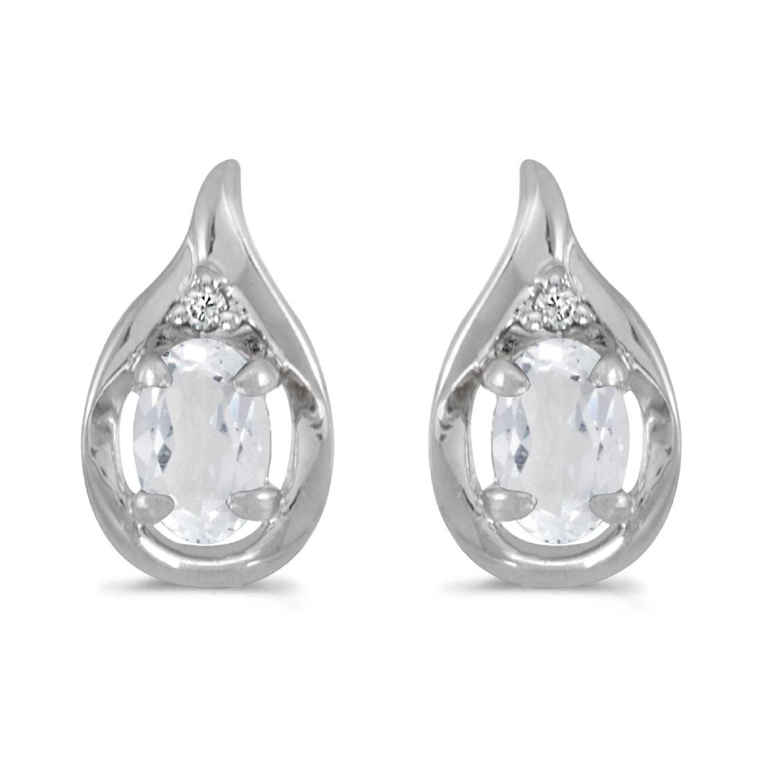 Certified 14k White Gold Oval White Topaz And Diamond E