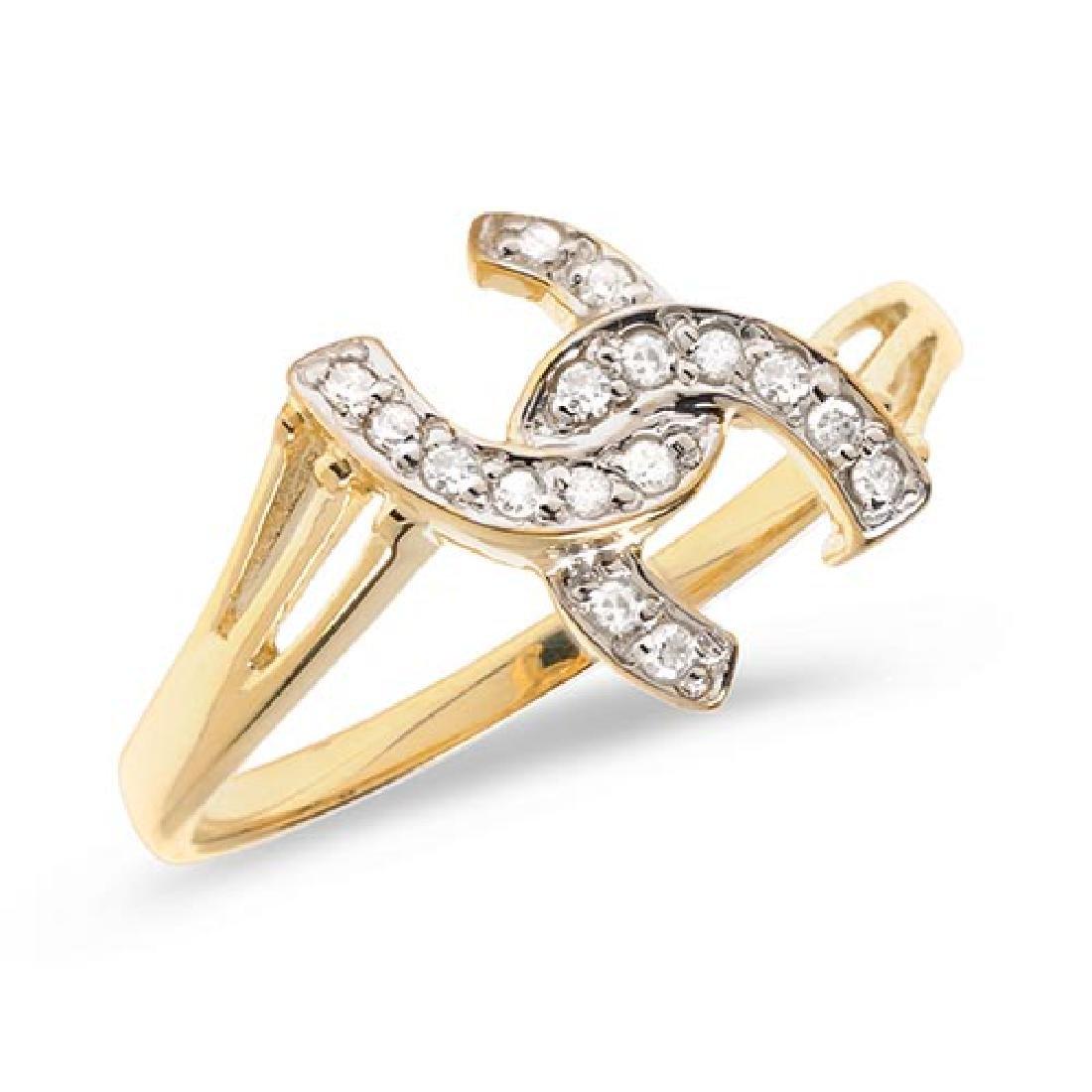 Certified 14K Yellow Gold Diamond Horseshoe Ring