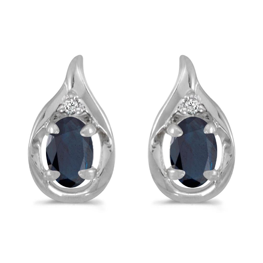 Certified 14k White Gold Oval Sapphire And Diamond Earr