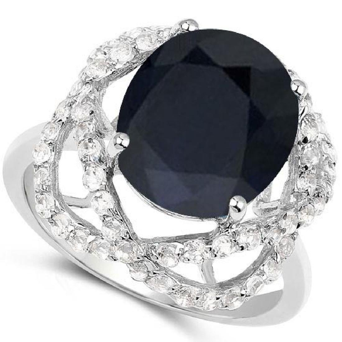 Certified 1.60 Ctw. Black Sapphire And Diamond 14K Whit