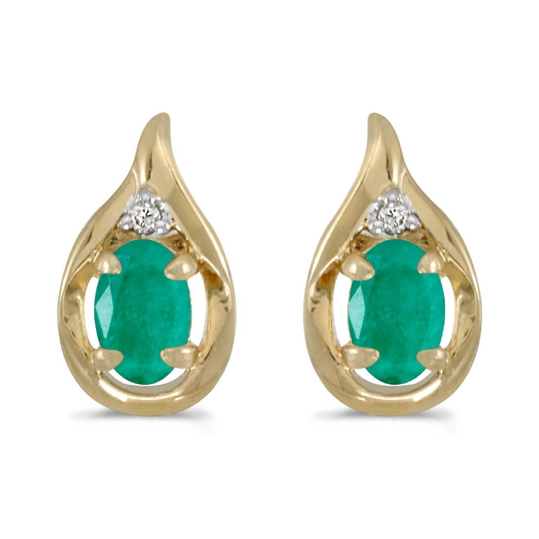 Certified 14k Yellow Gold Oval Emerald And Diamond Earr