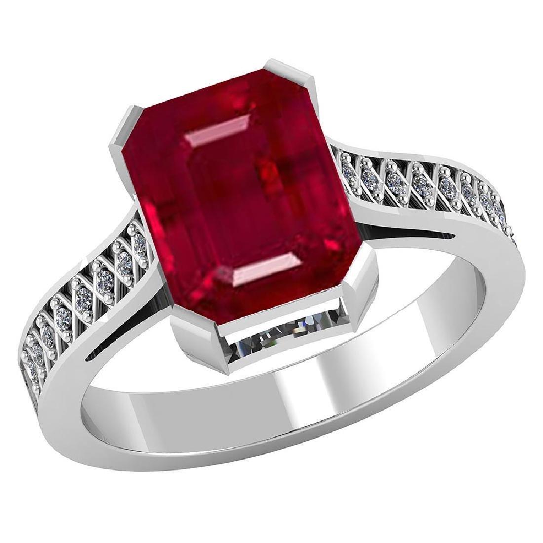Certified 2.90 CTW Genuine Ruby And Diamond 14K White G