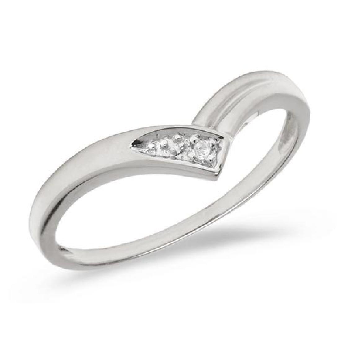 Certified 10K White Gold Diamond Chevron Ring
