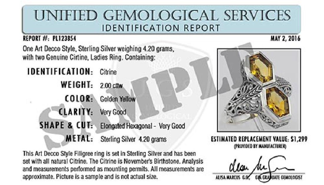 Certified Sterling Silver Oval White Topaz and Diamond - 2