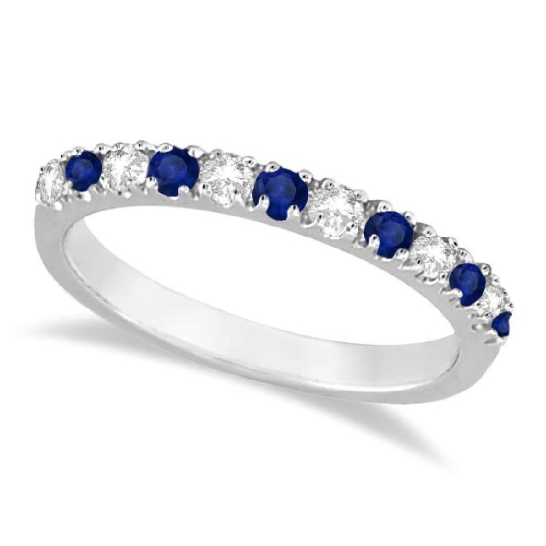 Diamond and Blue Sapphire Ring Anniversary Band 14k Whi