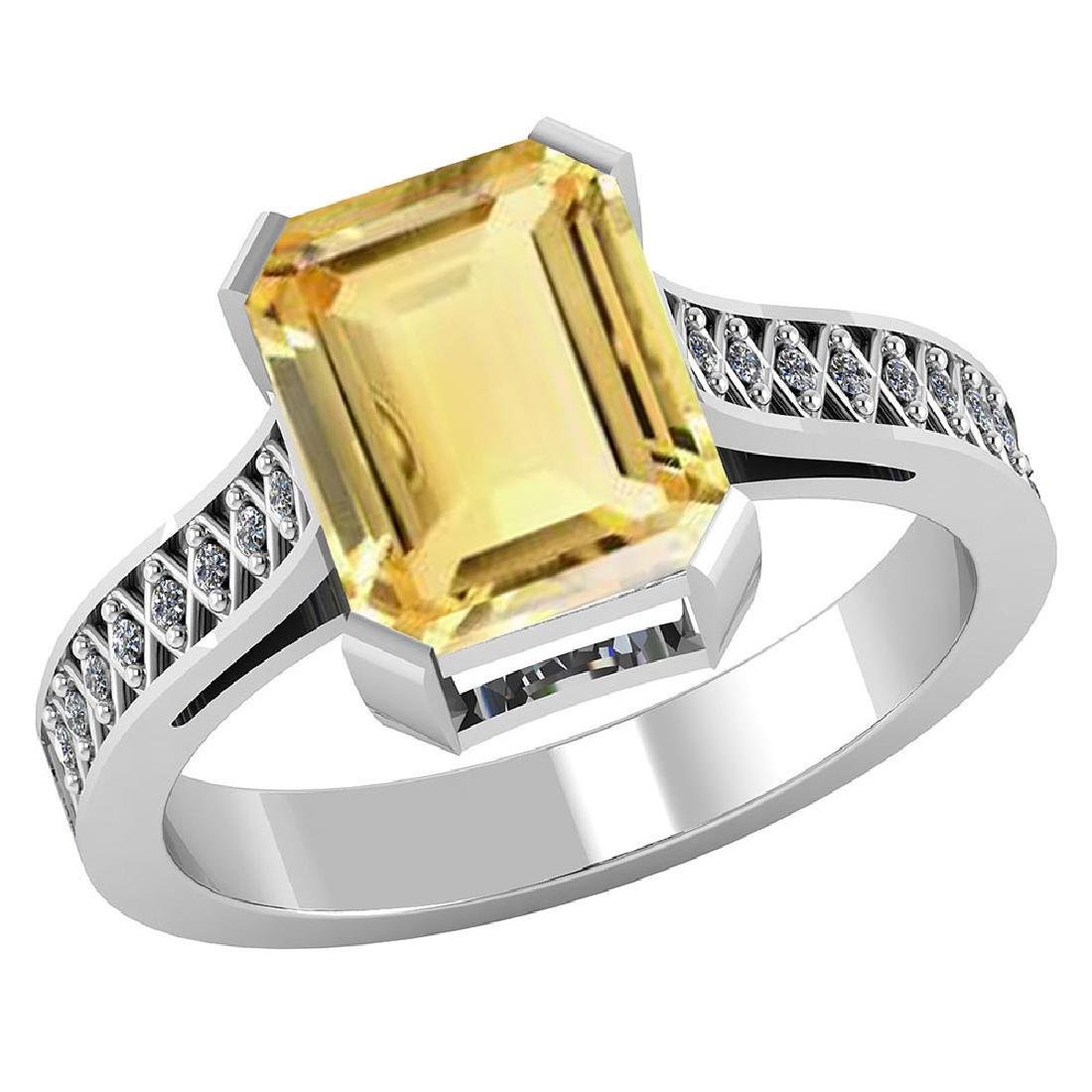 Certified 2.85 CTW Genuine Citrine And Diamond 14K Whit