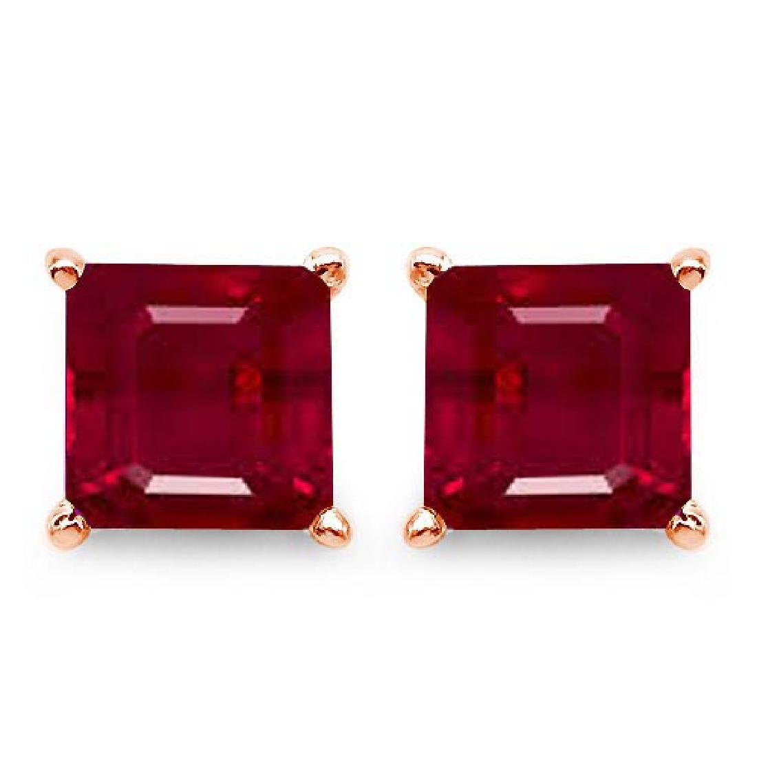 Certified 2.50 CTW Genuine Ruby And 14K Rose Gold Earri