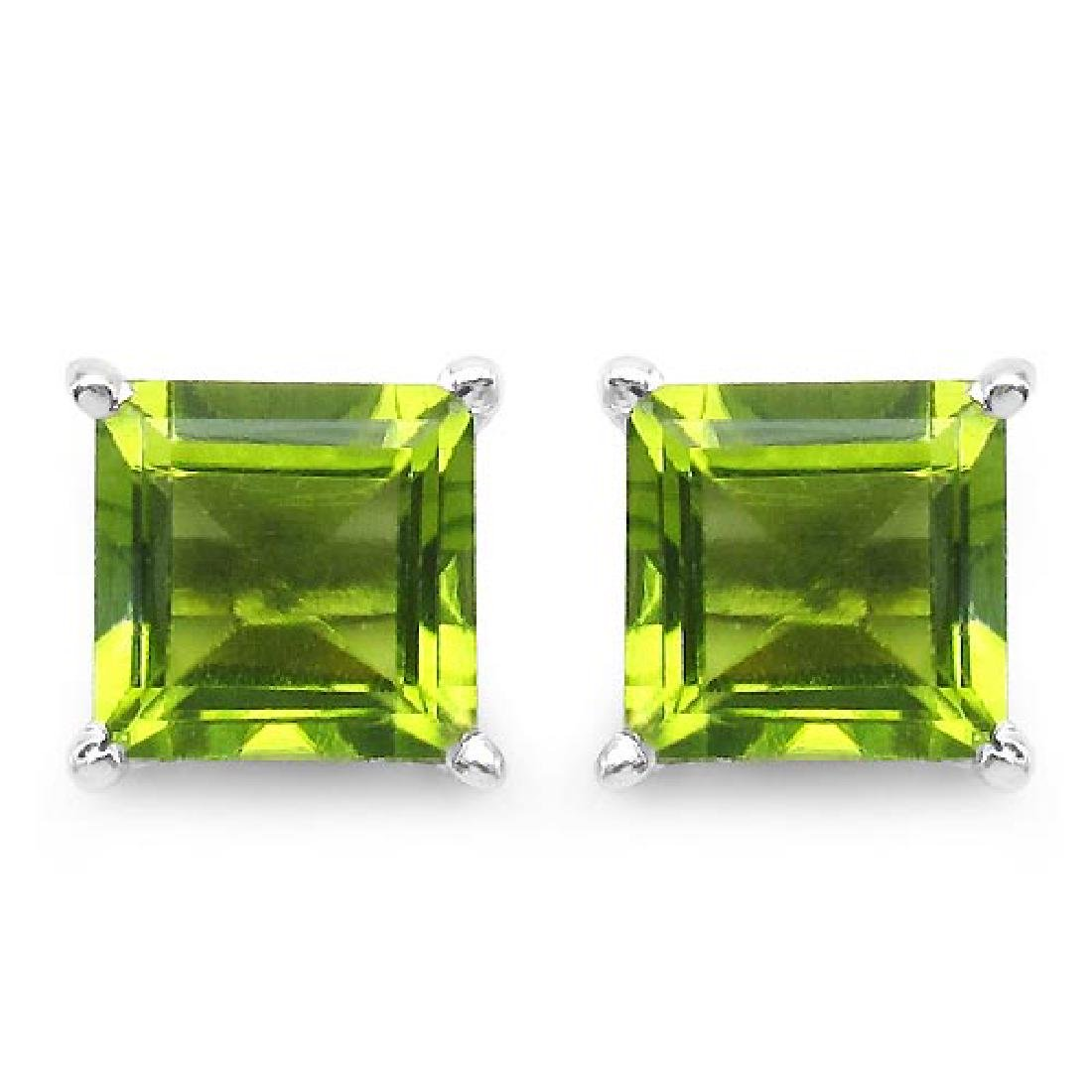 Certified 2.50 CTW Genuine Peridot And 14K White Gold E