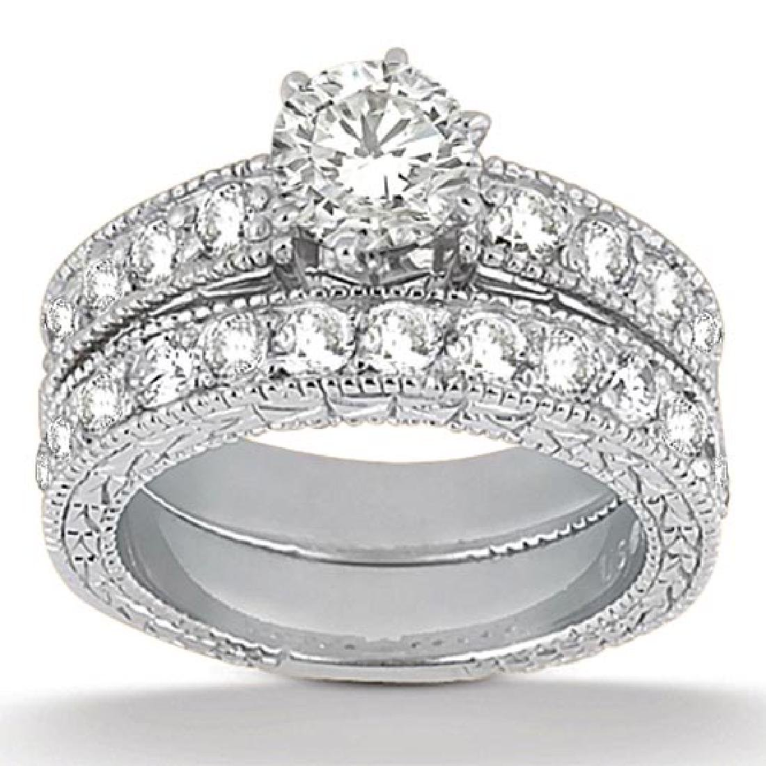 Antique Diamond Engagement Ring and Band 18k White Gold