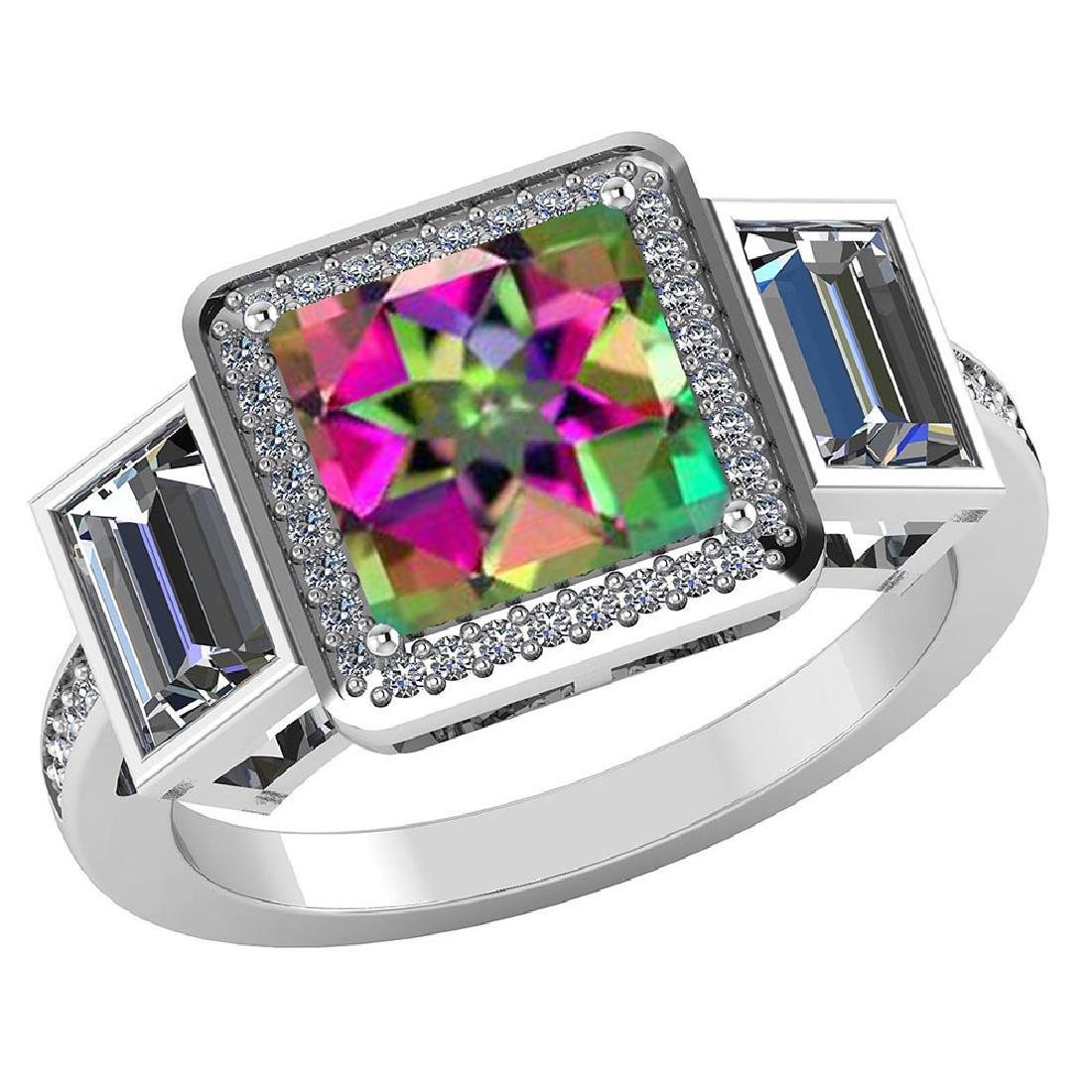 Certified 1.95 CTW Genuine Mystic Topaz And Diamond 14K