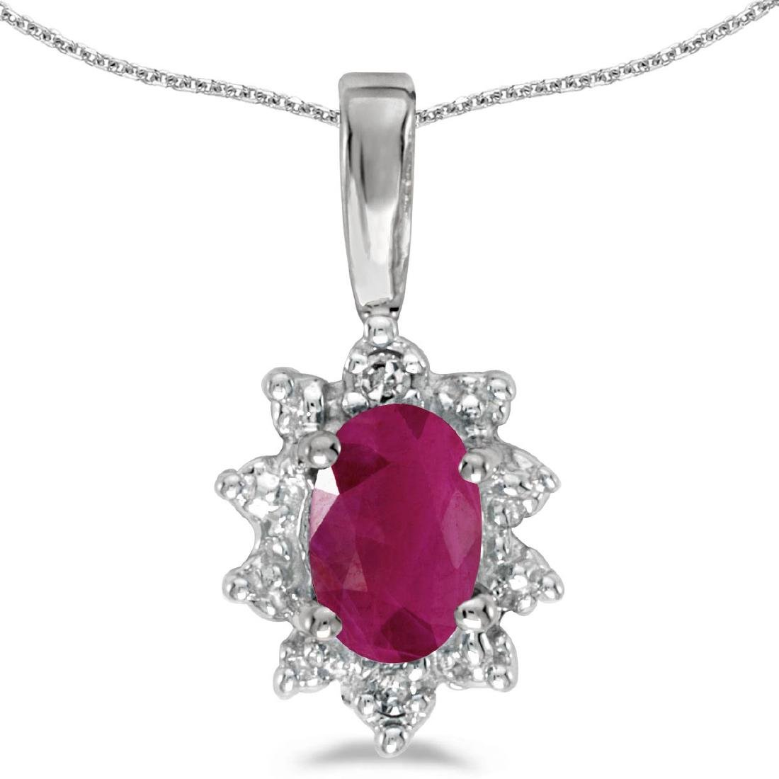 Certified 14k White Gold Oval Ruby And Diamond Pendant
