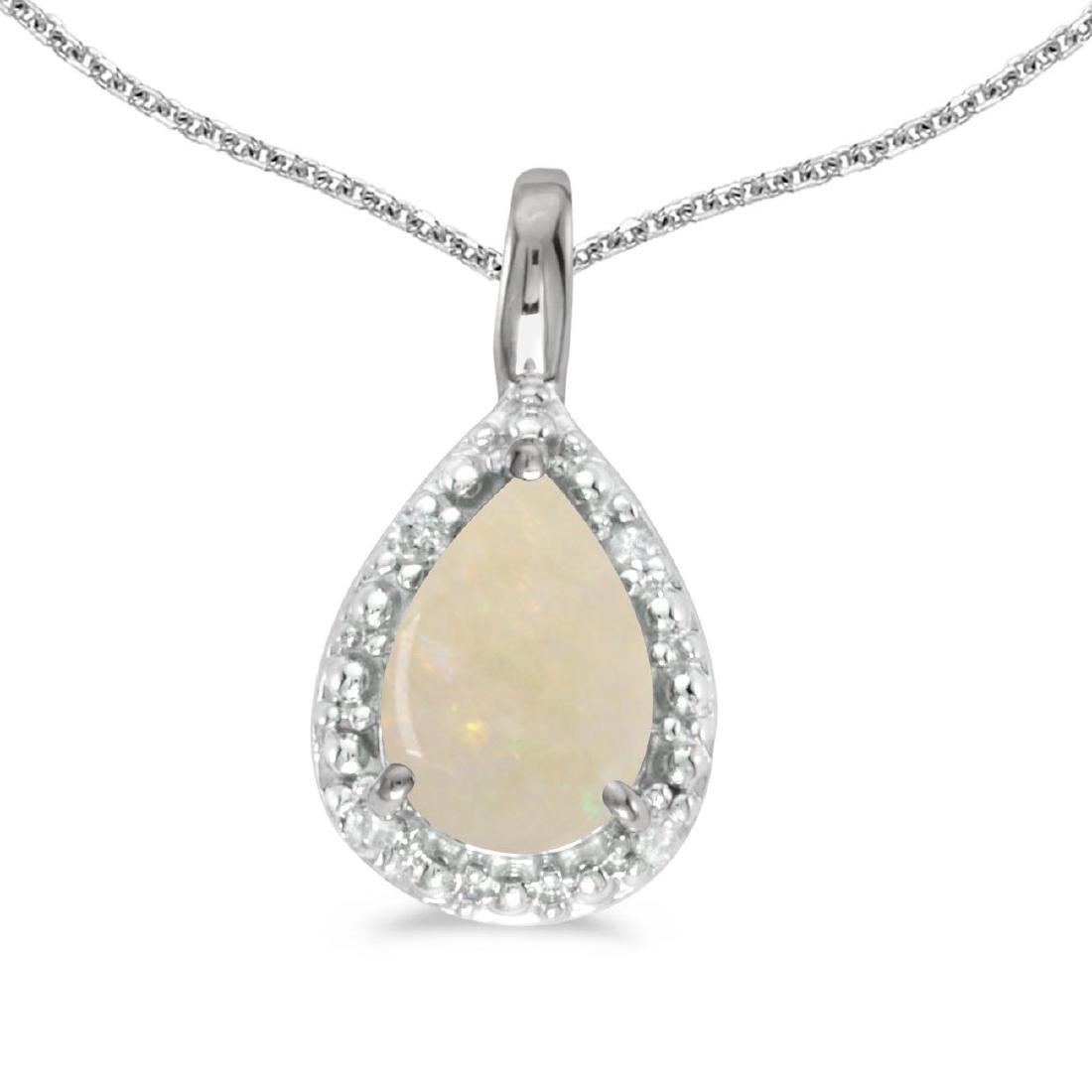Certified 14k White Gold Pear Opal Pendant 0.23 CTW