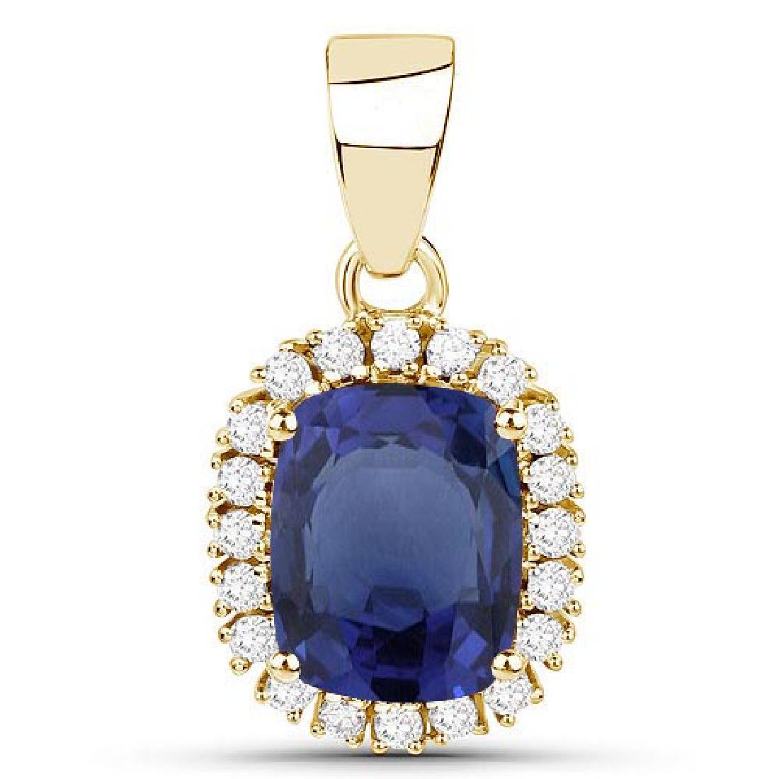 Certified 1.70 CTW Genuine Blue Sapphire And Diamond 14