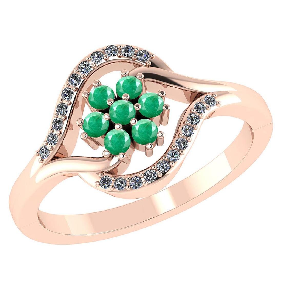 Certified 1.50 CTW Genuine Emerlad And Diamond 14K Rose