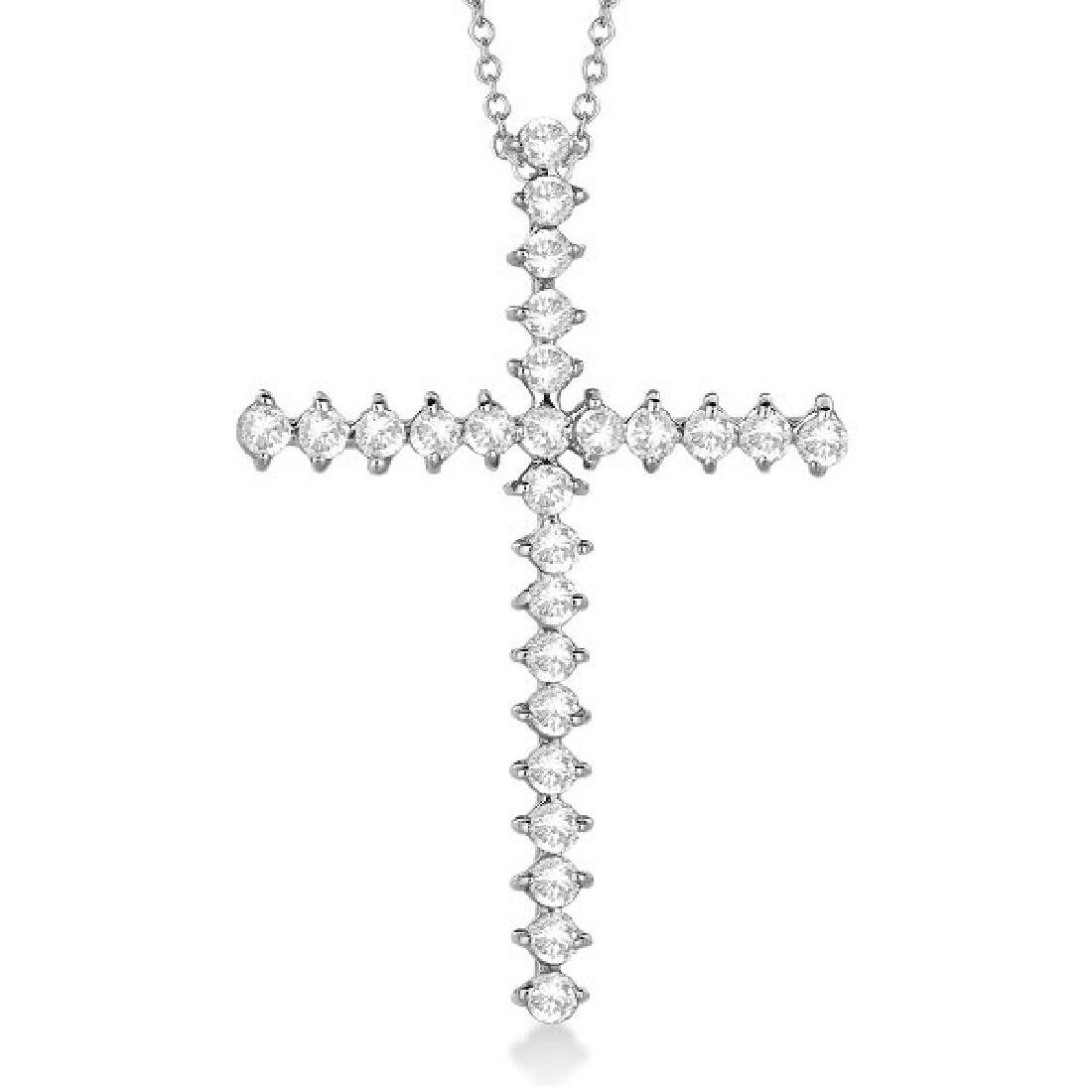 Diamond Cross Pendant Necklace 14kt White Gold (1.00ct)