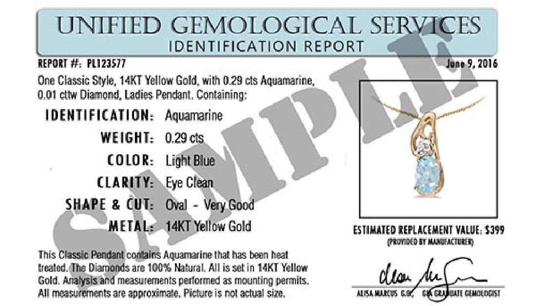 Certified 1.30 CTW Genuine Aquamarine And 14K White Gol - 2