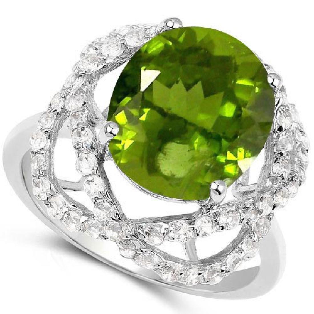 Certified 1.60 Ctw. Genuine Peridot And Diamond 14K Whi