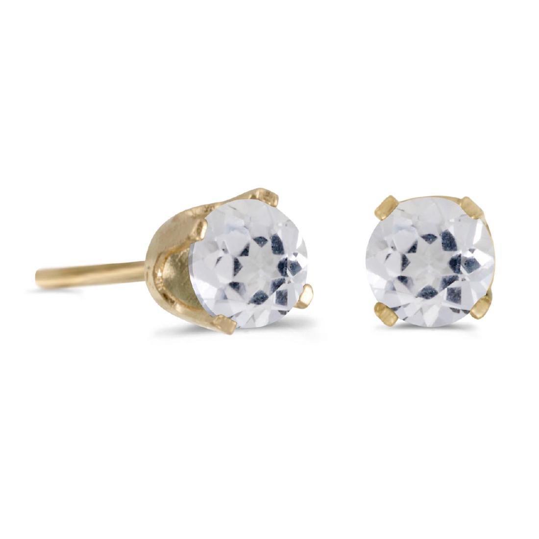 Certified 4 mm Round White Topaz Stud Earrings in 14k Y