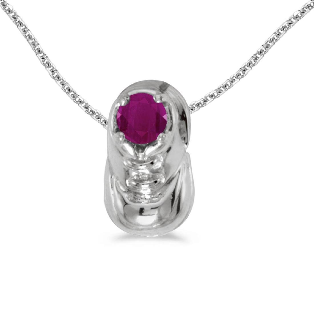 Certified 10k White Gold Round Ruby Baby Bootie Pendant