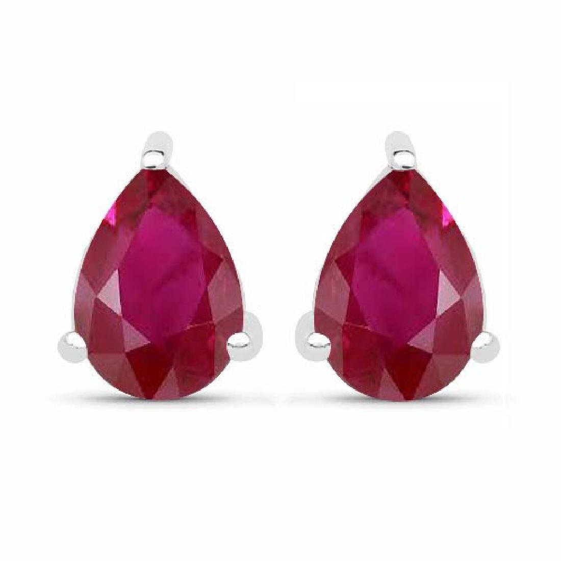 Certified 4.50 CTW Genuine Ruby And 14K White Gold Earr