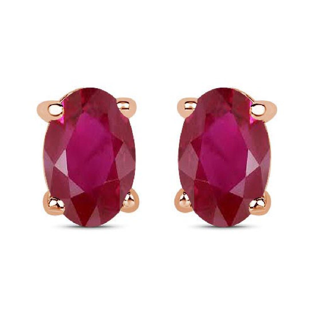 Certified 4.50 CTW Genuine Ruby And 14K Rose Gold Earri