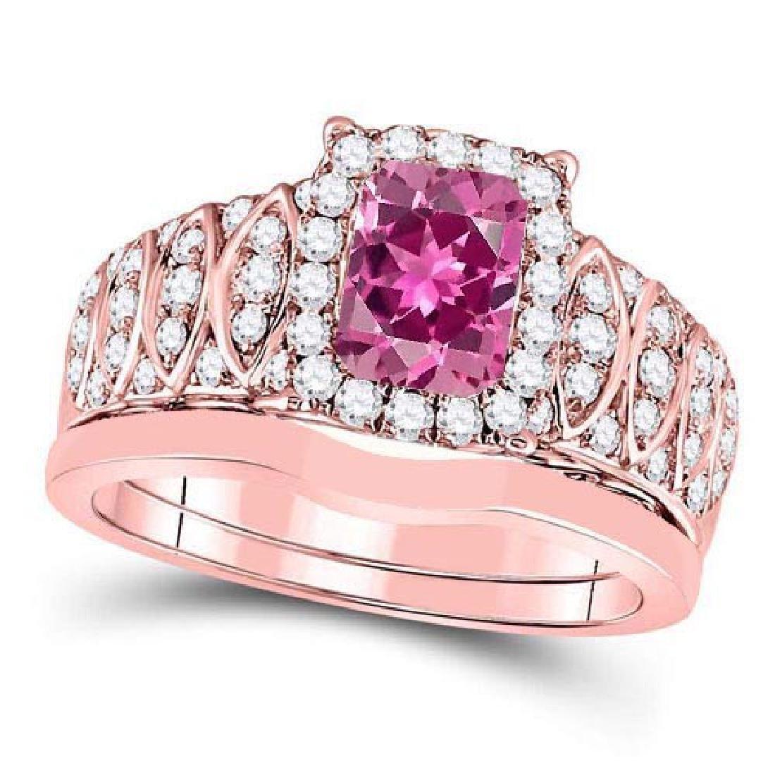 Certified 2.70 CTW Genuine Pink Touramline And Diamond