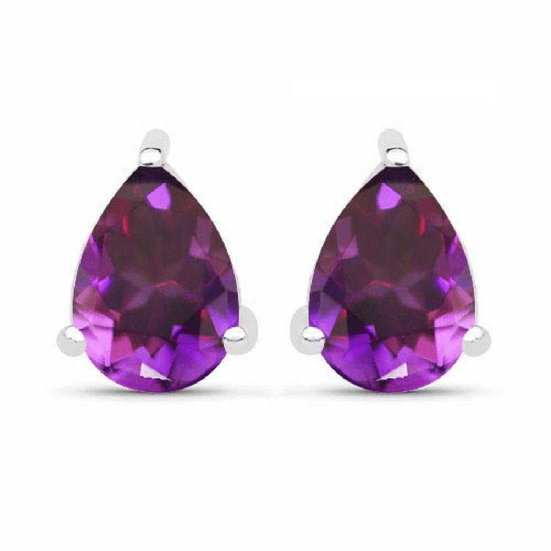Certified 4.20 CTW Genuine Amethyst And 14K White Gold
