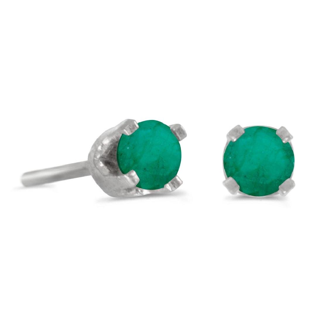 Certified 3 mm Petite Round Genuine Emerald Stud Earrin