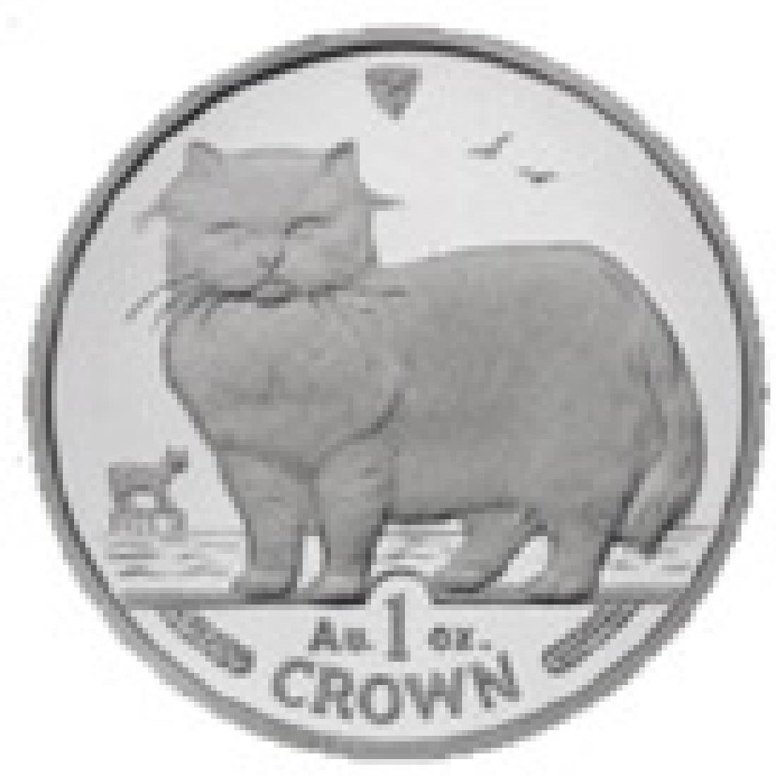 Isle of Man 1989 1 Crown Silver Proof Persian Cat