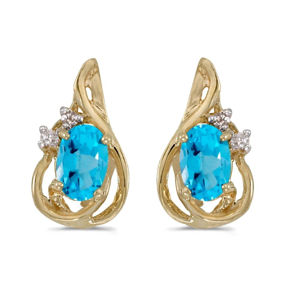 Certified 14k Yellow Gold Oval Blue Topaz And Diamond T