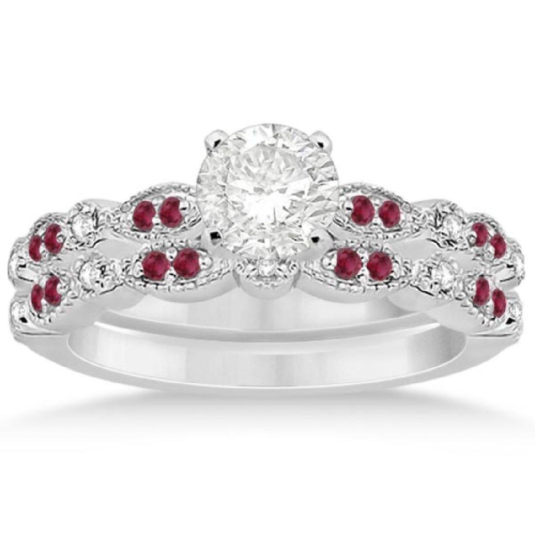 Ruby and Diamond Bridal Set 14k White Gold (1.31ct)