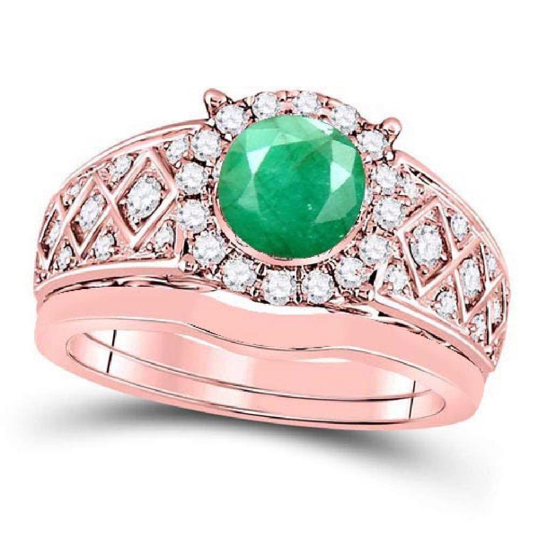 Certified 2.90 CTW Genuine Emerlad And Diamond 14K Rose