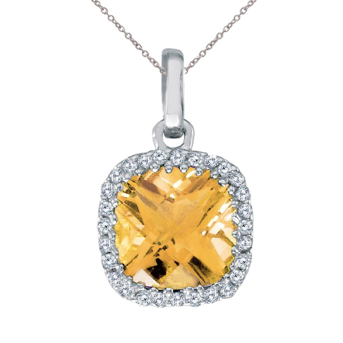 Certified 14K White Gold Citrine Cushion Pendant with D