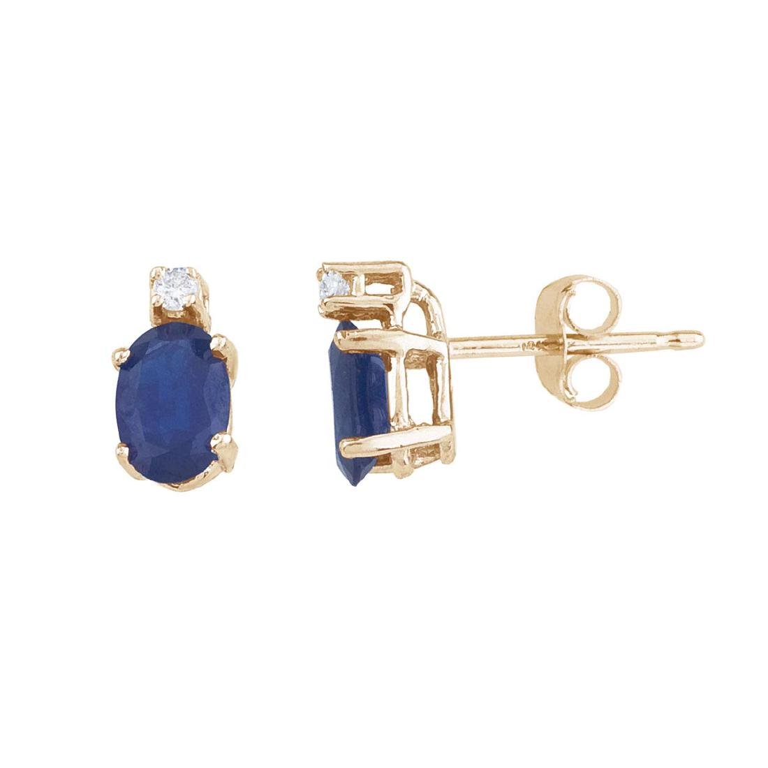Certified 14k Yellow Gold Sapphire And Diamond Earrings