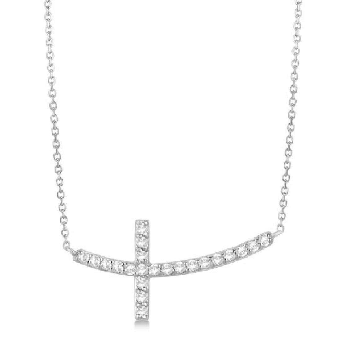 Diamond Sideways Curved Cross Pendant Necklace 14k Whit