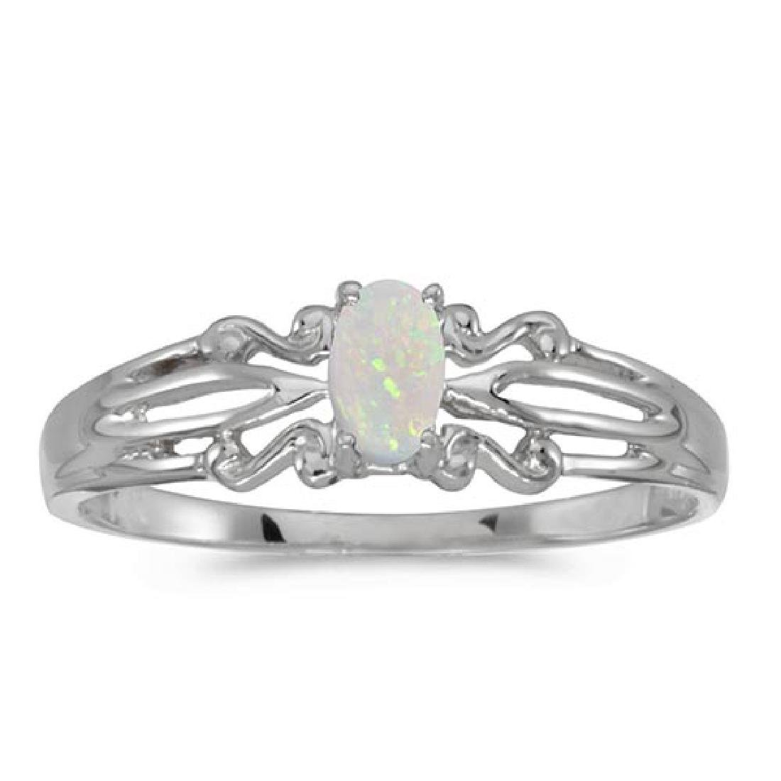 Certified 10k White Gold Oval Opal Ring