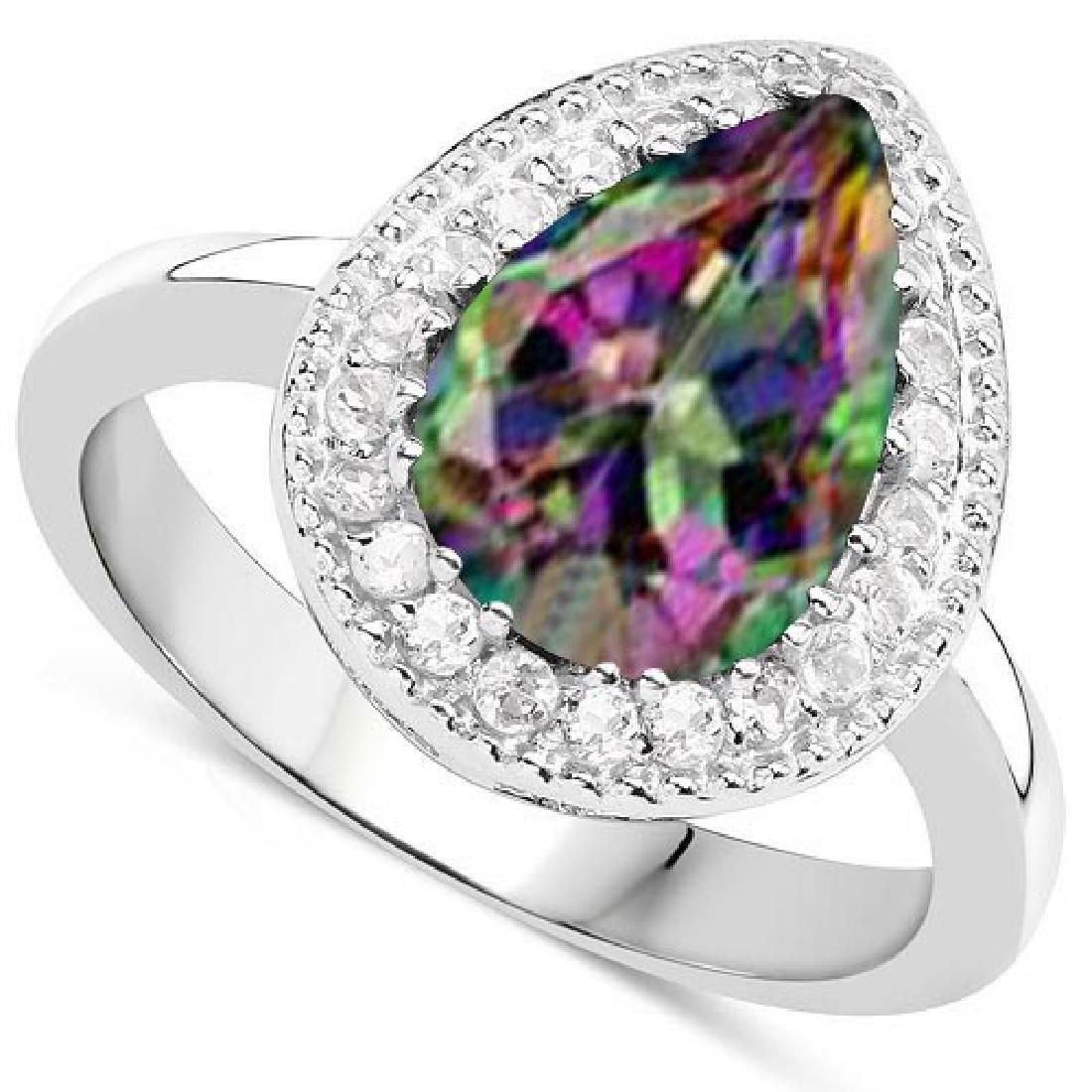 Certified 3.40 CTW Genuine Mystic Topaz And Diamond 14K
