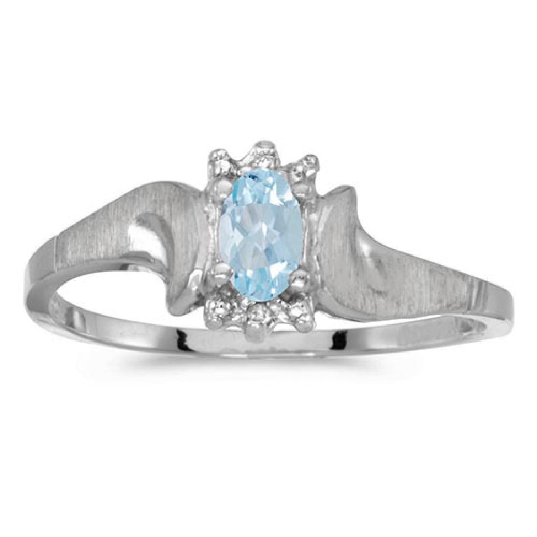 Certified 14k White Gold Oval Aquamarine And Diamond Sa