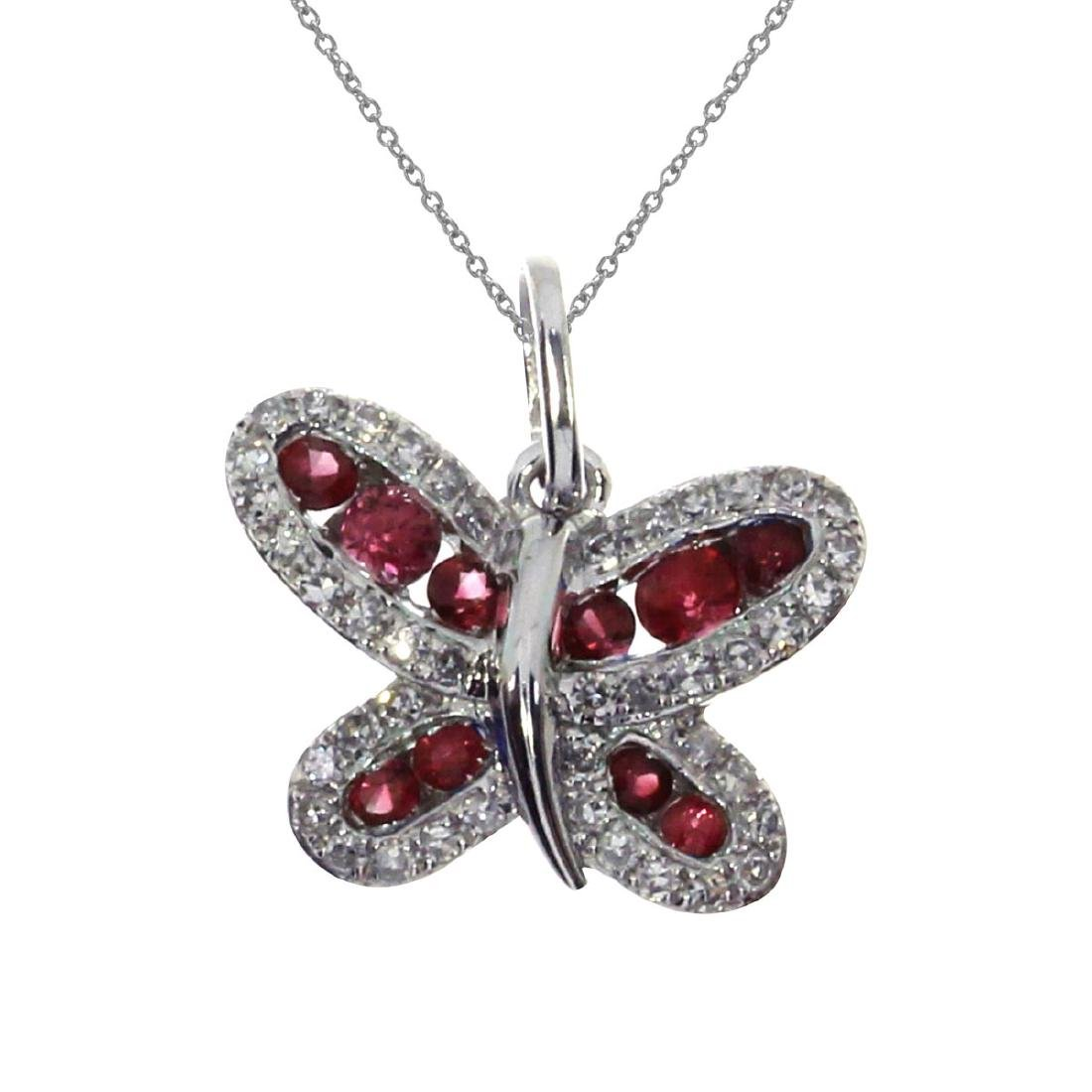 Certified 14k White Gold Ruby Butterfly Pendant 0.37 CT