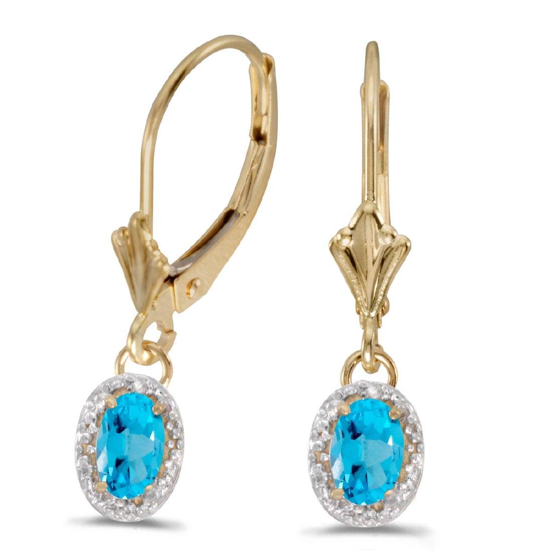 Certified 14k Yellow Gold Oval Blue Topaz And Diamond L