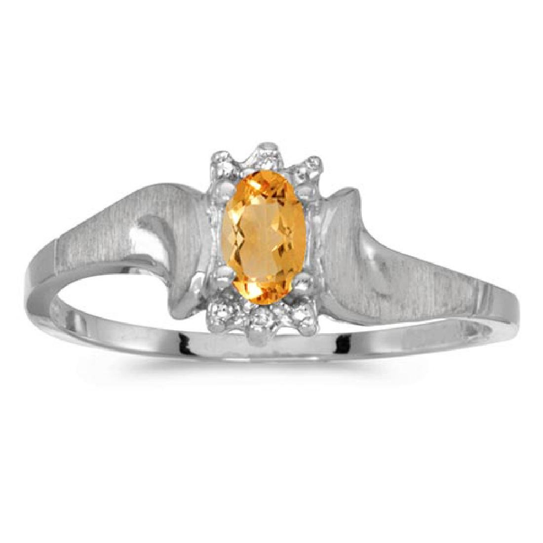 Certified 14k White Gold Oval Citrine And Diamond Satin