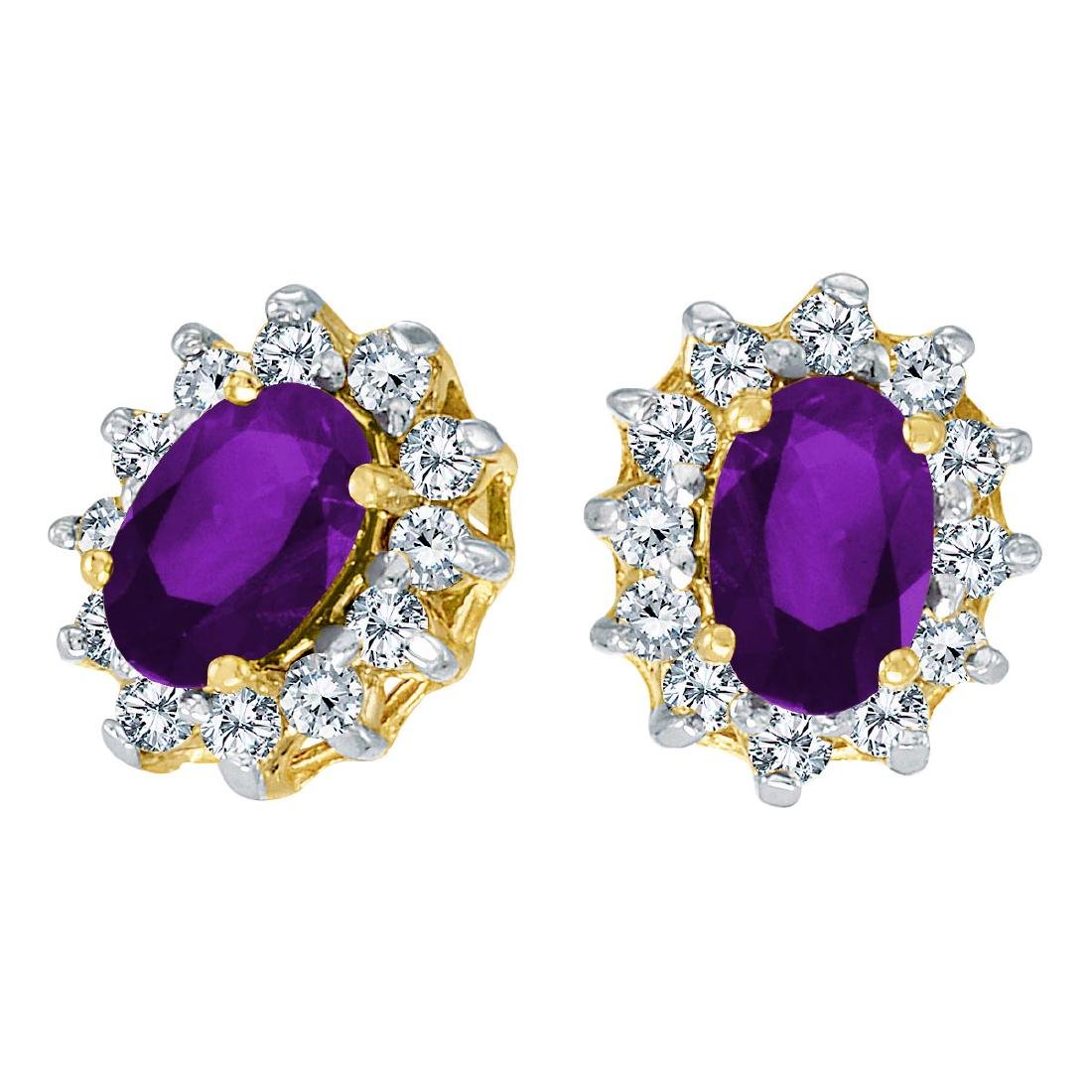 Certified 14k Yellow Gold Oval Amethyst and .25 total C