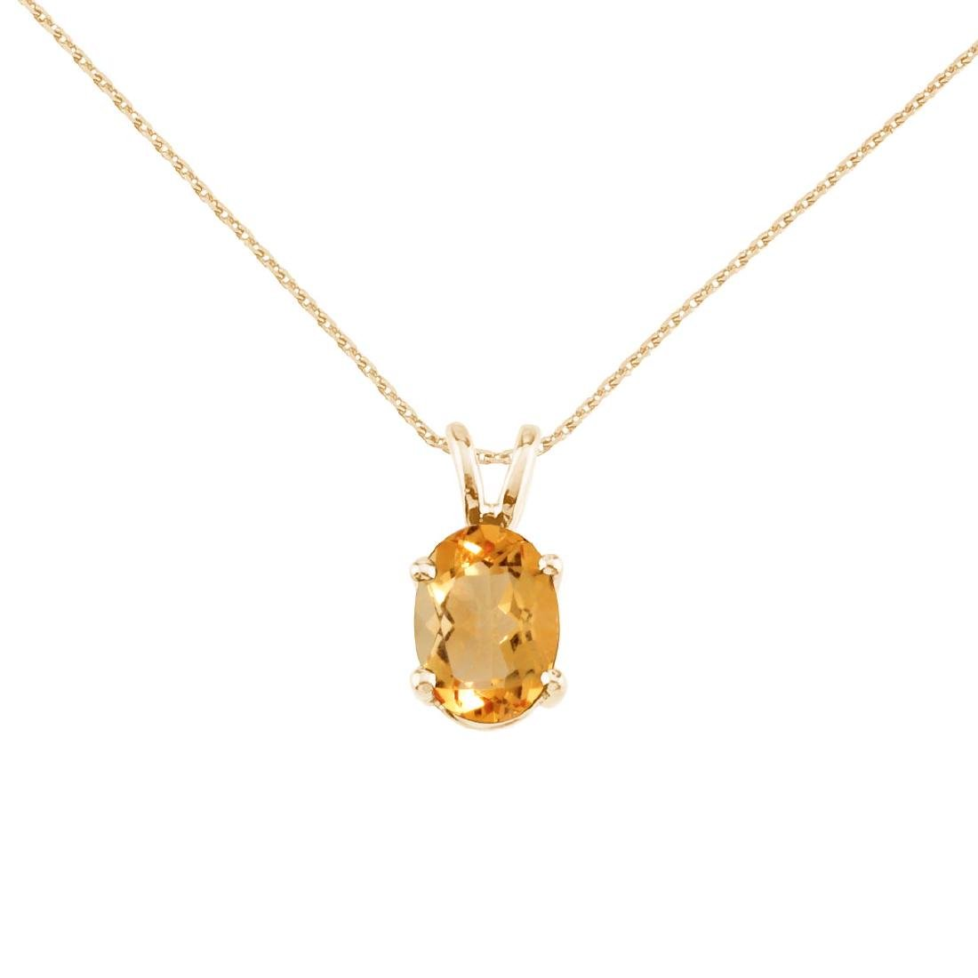 Certified 14k Yellow Gold Oval Citrine Pendant 0.8 CTW